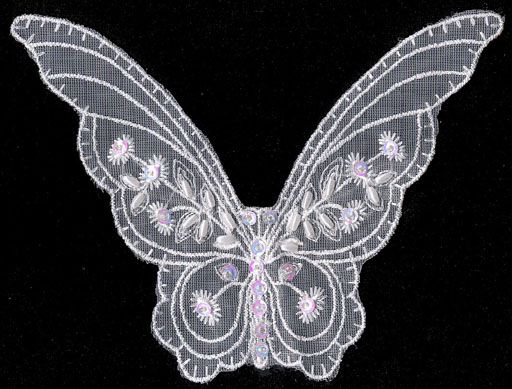 "5.75"" Sequin and Pearl Butterfly on Net"