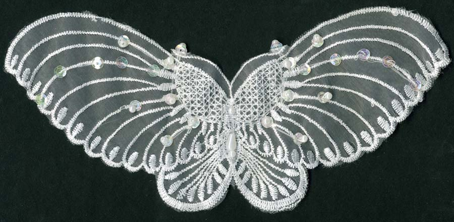 "9"" Sheer Clear Iris Sequined Wide Wing Butterfly Applique-White"
