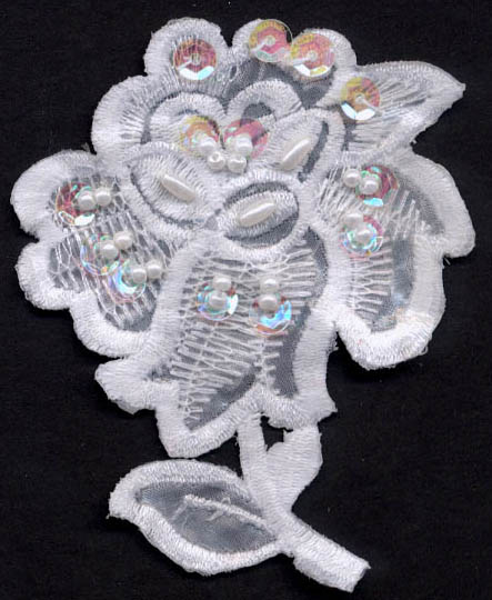 "3.5"" Sequin and Pearl Floral Applique"