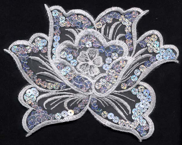 "6.5"" Sheer Sequin Flower on Net"