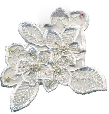 "4.5"" Embroidered Sheer Beaded Sequin Floral Applique-White"