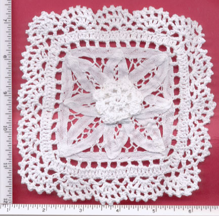 "5.25"" Cotton Crochet/Battenburg Square-White"