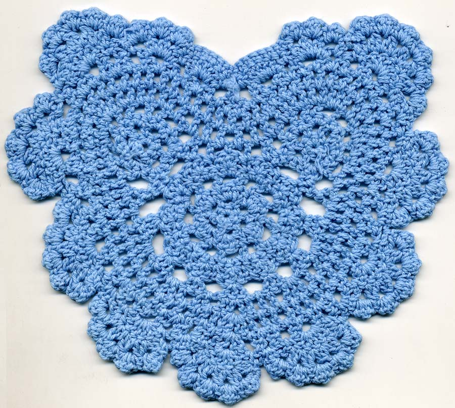 "5.5"" x 6.25"" Crochet Heart Applique-Light Blue"