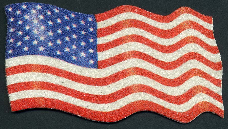 "5.5"" X 2.75"" Caviar Bead Waving USA Flag-Red-White-Blue"