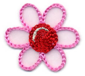 "1+1/2"" Flower Applique-Pink/Red/Silver Combo"