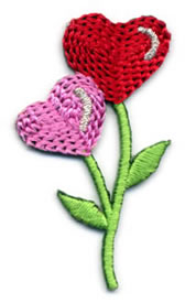 "1+1/2"" Hearts Applique-Pink/Red/Green Combo"