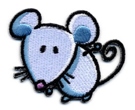 "2+1/4"" X 1+5/8"" Mouse Applique-Light Blue/White Combo"