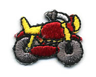 "1""X 3/4"" Motorcycle Applique-Red/Black/Yellow/White Combo"
