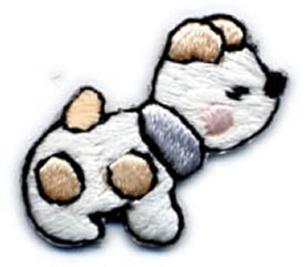 "1+1/4"" Dog Applique-Ivory/Tan/Black Combo"