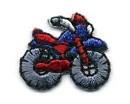 "1"" X 3/4"" Motorcycle Applique-Blue/Red/Grey/Black Combo"