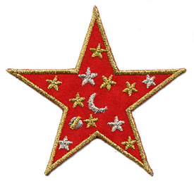 "3"" Iron On Satin-Metallic Star-Red/Gold/Silver Combo"