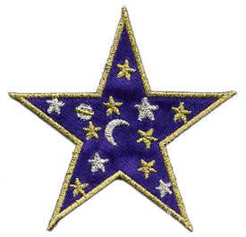 "3"" Iron On Satin-Metallic Star-Purple/Gold/Silver Combo"