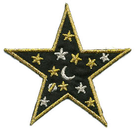 "3"" Iron On Satin-Metallic Star-Hunter Green/Gold/Silver Combo"