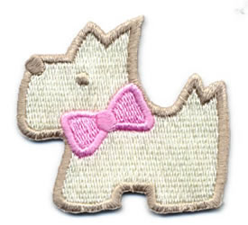 "2"" X 1+3/4"" Scottie Dog Applique-Ivory/Pink/Tan Combo"