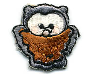 "1"" Owl Applique-Grey/Brown/Black/White Combo"