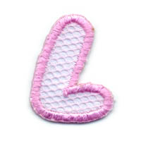 "1+1/4"" Letter ""L""-Pink/White Combo"