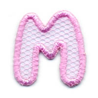 "1+1/4"" Letter ""M""-Pink/White Combo"
