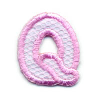 "1+1/4"" Letter ""Q""-Pink/White Combo"