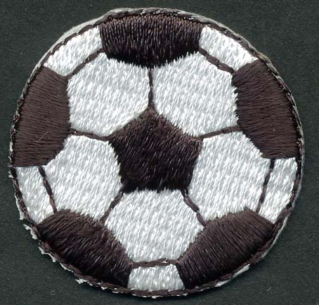 "1+3/8"" Soccer Ball Patch Applique-White/Black"