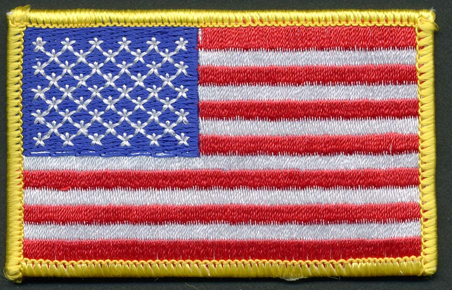 "3 3/8"" X 2 1/8"" USA Flag Applique-Red-White-Blue With Gold Border"