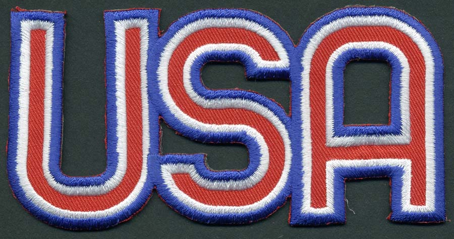 "4+5/7"" X 2+3/8"" USA Letter Applique-Red-White-Blue"