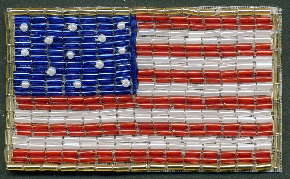 "3.25"" X 2"" Hand Beaded USA Flag Applique-Red-White-Blue With Crystal Beads"