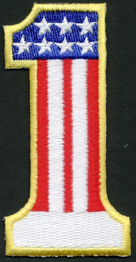 "1 7/8"" X 4 5/8"" Number 1 USA Applique-Red-White-Blue With Gold Border"