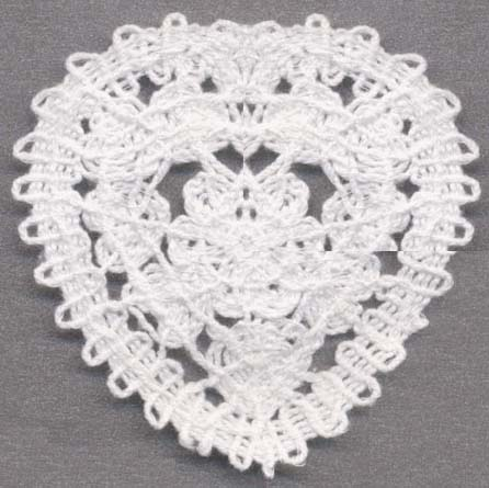 "2.75"" Cotton Cord Heart Applique-White"