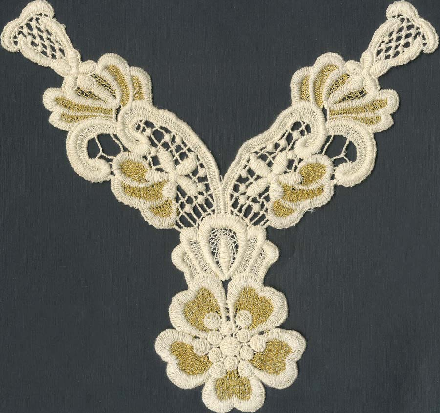 "10"" ""Y"" Gold Metallic Flower Venise Yoke-Off White"
