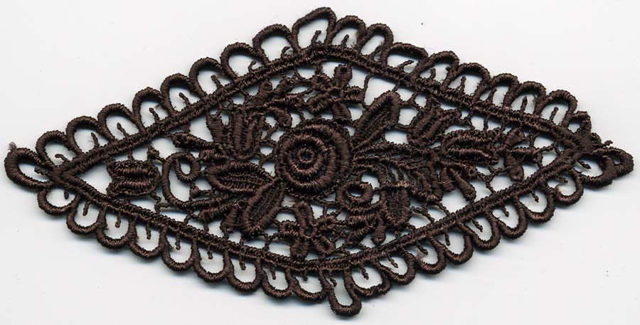 "4.78"" x 2.25"" Poly Venise Applique-Brown"