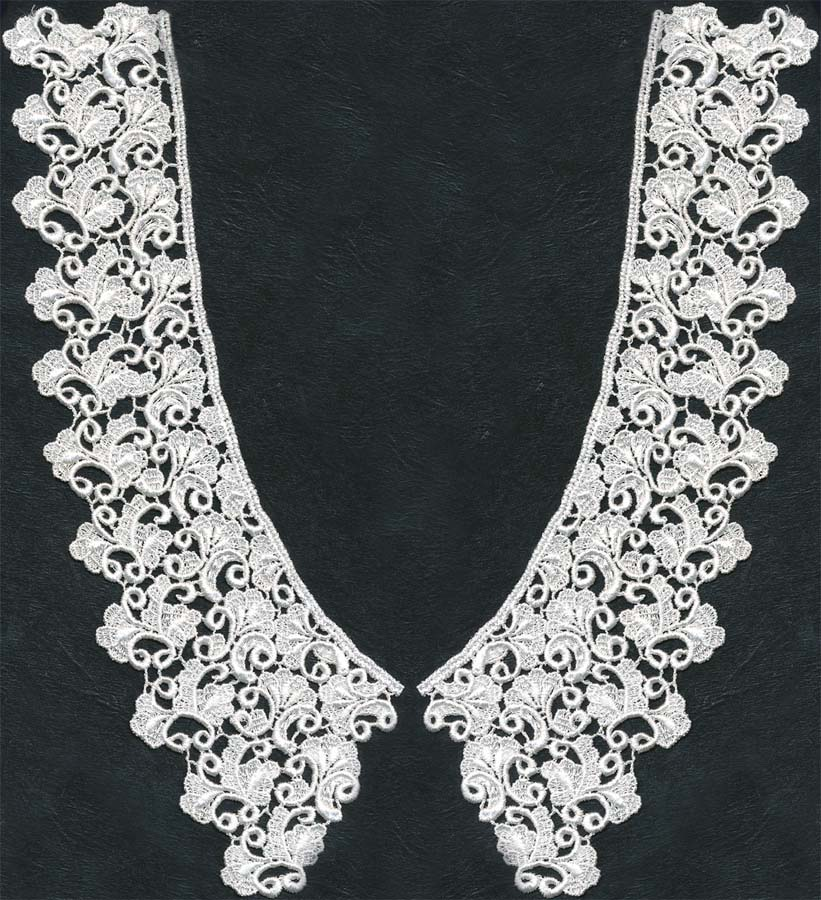 "11"" Rayon Venise 2-Piece Collar-White"