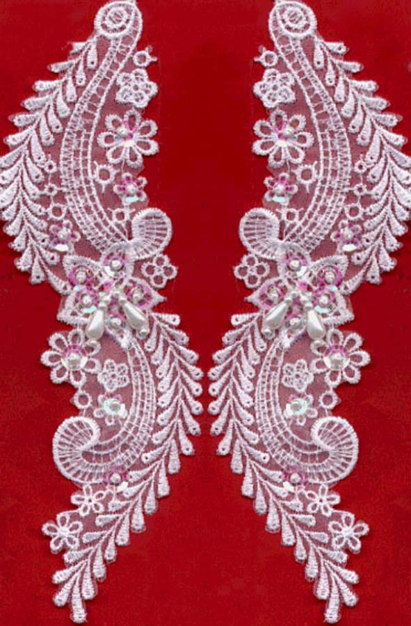 Rayon Flower Venise Applique With Pearls And Sequins