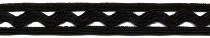 "1/2"" Cotton Ric Rac With Middy Braid-Black<br>see Special Pricing Tab"