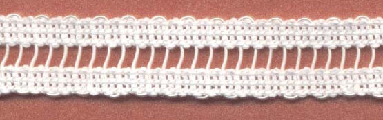 "1/2"" Cotton Ladder Braid With Rayon Center-White<br>see Special Pricing Tab"