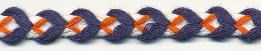 "3/8"" Cotton Arrowflow Braid-White/Navy/Orange Combo<br>see Special Pricing Tab"