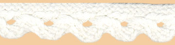 "3/4"" Cotton Cord Scallop Braid-White<br>see Special Pricing Tab"