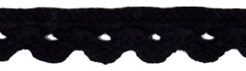 "3/4"" Cotton Cord Scallop Braid-Black<br>see Special Pricing Tab"
