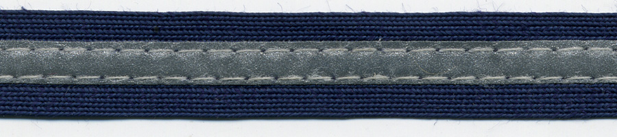 "5/8"" Navy Middy Braid With 1/4"" 3M Silver Reflective Stripe-Navy/Silver<><>see Special Pricing Tab"