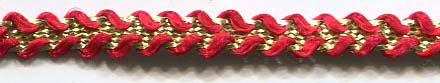 "1/2"" Metallic And Rayon Star Braid-Red/Gold Combo"