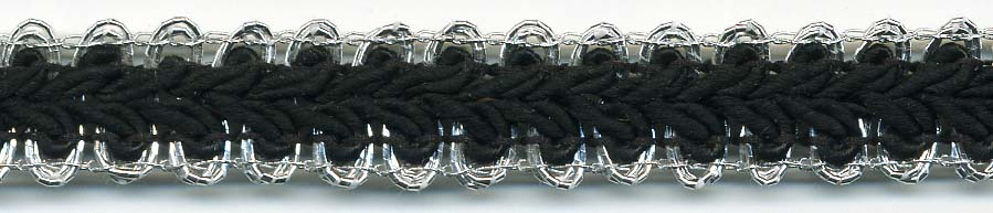 "1/2"" Metallic/Rayon Knit Braid-Silver/Black Combo"