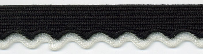 "3/8"" Poly Wavy Edge Braid-Black Apron With Clear Edge<br>see Special Pricing Tab"