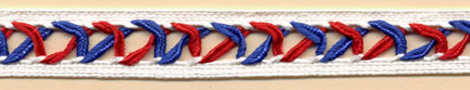 "5/8"" Wide Rayon X Soutache Braid-Red/White/Blue<br>see Special Pricing Tab"