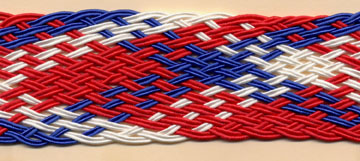 "1+1/2"" Wide Rayon Plaited Soutash-Red/White/Blue<br>see Special Pricing Tab"