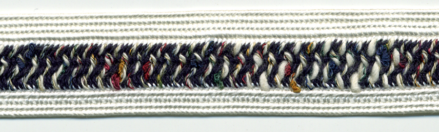 "3/4"" Wide Rayon/Cotton Fancy Weave Braid-White Combo<br>see Special Pricing Tab"