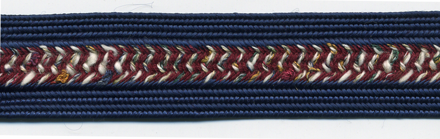 "3/4"" Wide Rayon/Cotton Fancy Weave Braid-Navy/Wine Combo<br>see Special Pricing Tab"