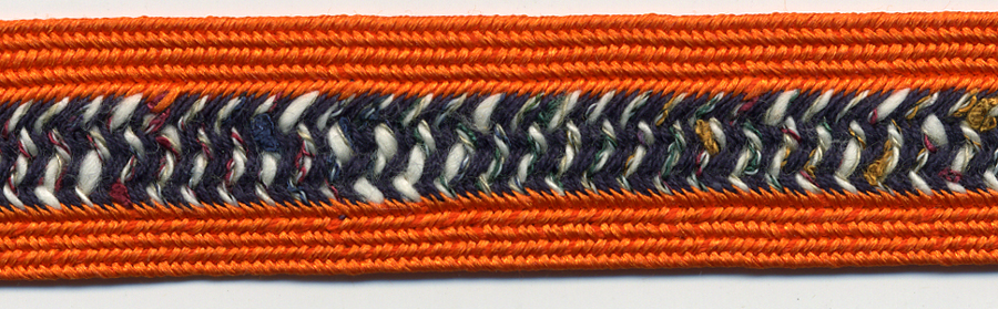 "3/4"" Wide Rayon/Cotton Fancy Weave Braid-Orange Combo<br>see Special Pricing Tab"