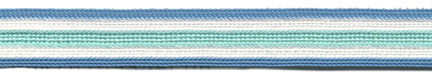 "$0.03 per yard, see Special Pricing Tab  - 3/8"" Rayon 5 Stripe Braid-Turquoise/White/Aqua Combo"