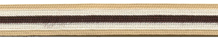 "$0.03 per yard, see Special Pricing Tab  - 3/8"" Rayon 5 Stripe Braid-Tan/Ecru/Dark Brown Combo"