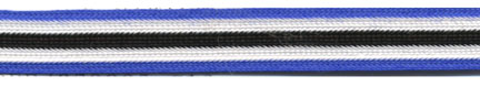 "$0.03 per yard, see Special Pricing Tab  - 3/8"" Rayon 5 Stripe Braid-Royal/White/Black Combo"