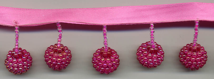 "1"" Beaded Ball Fringe On Ribbon-Fuscia Irid"